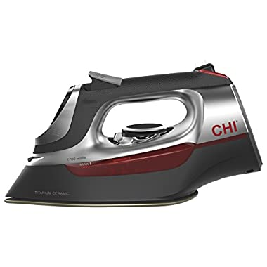 CHI (13102) Steam Iron with Retractable Cord, Electronic temperature controls, 1700 Watts, Titanium Infused Ceramic Soleplate & Over 400 Steam Holes, Professional Grade