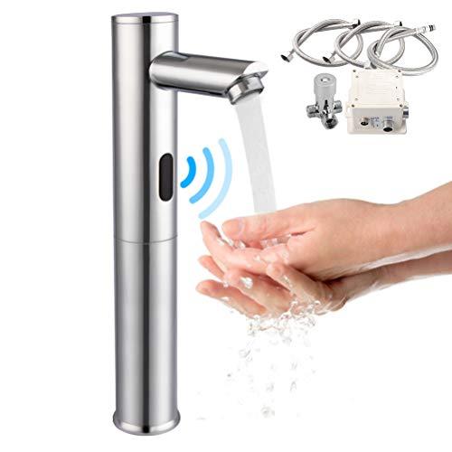 GIMIFY Grifo Sensor Automático Fría y Caliente Automático Sensor de Infrarrojos Llave Sin-contacto Mezclador para Lavabo de Baño