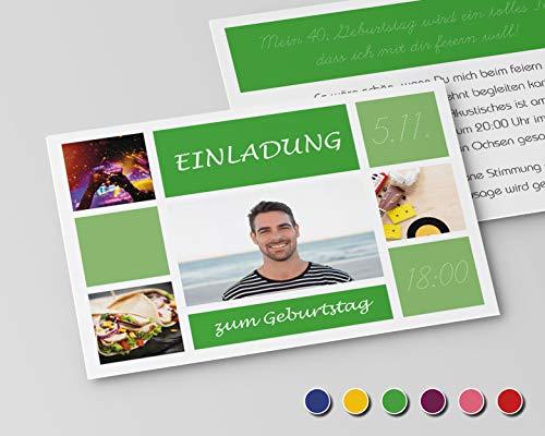 Uitnodigingskaarten voor verjaardag, uitnodiging voor ronde verjaardag, alle jaren tegels (niet beschikbaar in het Nederlands) 50 Stück groen