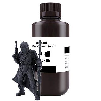 ELEGOO 3D Printer Rapid Resin, 405nm LCD UV-Curing Resin Standard Photopolymer Resin for LCD 3D Printing Black 500G