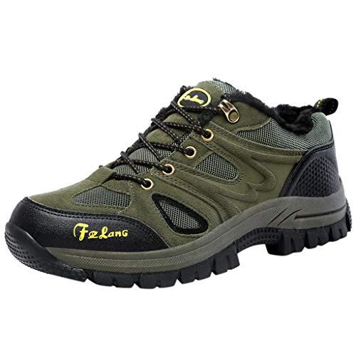 HDUFGJ Herren Trekking-& Wanderhalbschuhe Plus Samt Warm halten rutschfeste Outdoor-Schuhe Schneeschuhe Verschleißfest Freizeitschuhe Wasserdicht Laufschuhe Bequem Leichtgewicht39.5 EU(Armee grün)