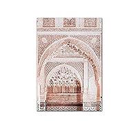 ポスターイスラム美術キャンバスプリントラクダ砂漠の風景ポスター壁モロッコアーチ絵画シンプルさ現代の家の装飾画像