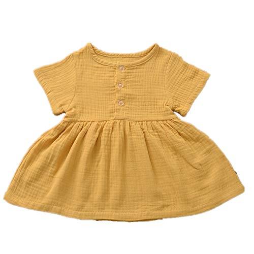 Maluch dziewczynek bawełna len tunika sukienka huśtawka na co dzień z krótkim rękawem jednolite sukienki