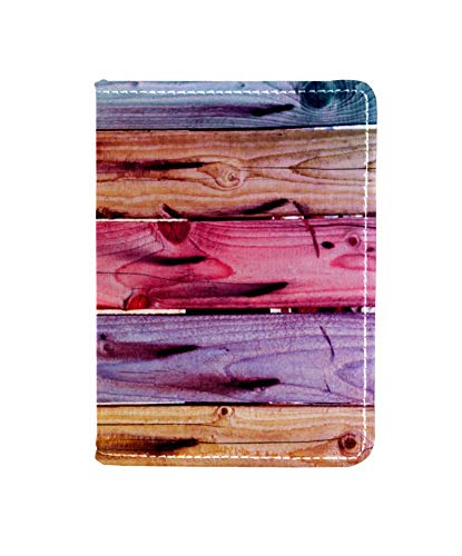 TIZORAX Valla de madera colorida con clavos oxidados pasaporte titular de viaje cartera de cuero tarjeta caso cubierta