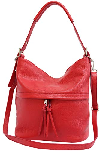 AmbraModa Damen Handtasche Schultertasche Beutel aus Echtleder GL024 (Rot)