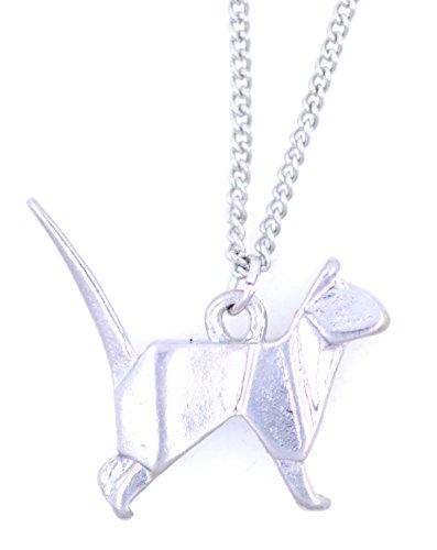 Lizzyoftheflowers - Collar con colgante, diseño muy bonito de gato o perro de origami, con aspecto de papel pero hecho de metal, plateado