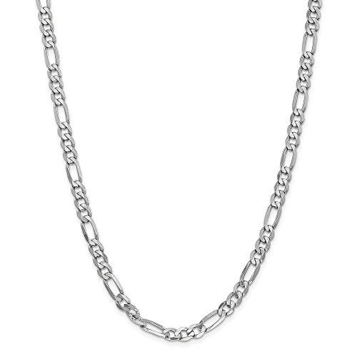 Collar de cadena fígaro plano de oro blanco de 14 quilates, 6,0 mm, para hombres y mujeres.