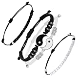 Matching Yin Yang Friend Couple Bracelets Adjustable Waterproof Handmade Cord Relationship Bracelets for Friendship Relationship Boyfriend Girlfriend, 4 Pieces Totally (Eye-catching Styles)