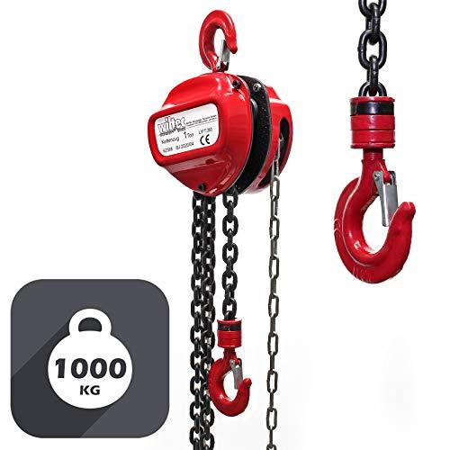 WilTec Polipasto Manual de Cadena 1000kg con Cadena 3m y Altura de elevación de 3m, para Levantar Cargas