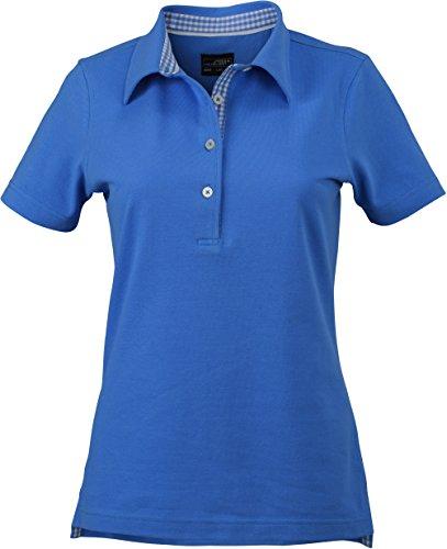 James & Nicholson Damen Ladies´ Plain Polo Poloshirt, Blau (Glacier-Blue-White), 36 (Herstellergröße: M)