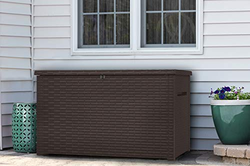Keter Java XXL 230 Gallon Resin Rattan Look Large Outdoor Storage Deck Box for Patio Furniture Cushions, Pool Toys, and Garden Tools, Espresso Brown