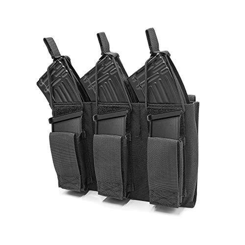 ProCase Cartuchera Táctica, Funda para Cargadores de Rifle Pistola Escopeta, Porta Cartucho con Cinta Elástica para M4 M14 G36 HK416 Glock M1911 92F –Negro