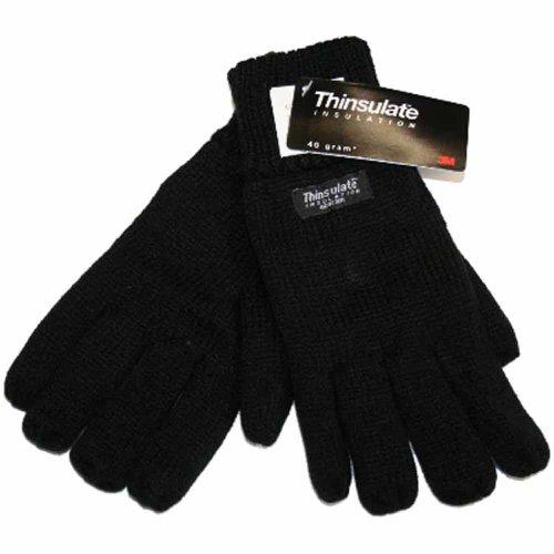 Socks Uwear GM25 Gants d'hiver en Tricot Thermique doublés Thinsulate pour Homme - Noir - Taille Unique
