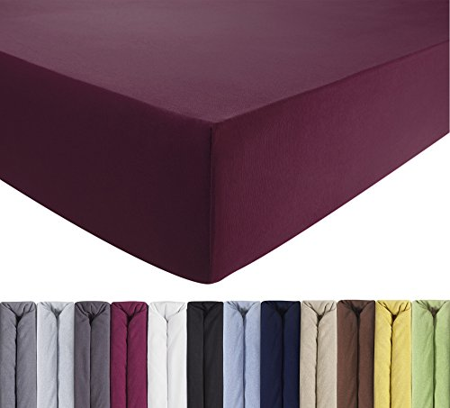 ENTSPANNO Jersey Spannbettlaken für Wasser- und Boxspringbett in Lila (Orchidee) aus Baumwolle. Spannbetttuch mit Einlaufschutz, 180 x 200 | 200 x 200 | 200 x 220 cm, bis 40 cm hohe Matratzen