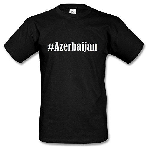 T-Shirt #Azerbaijan Größe M Farbe Schwarz Druck Weiss