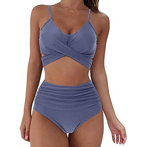 YANFANG Conjunto de Bikini con Estampado de Soild Sexy para Mujer Traje de baño Push Up Traje de baño de Cintura Alta,Suave Acolchado Tops y Braguitas Conjuntos Bikinis Bañador Brasileño,Blue,S