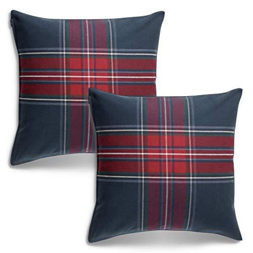 Lidoma Juego de 2 fundas de cojín de 50 x 50 a cuadros, color azul y rojo, cojín decorativo, cojín decorativo, cojín decorativo para sofá, de Ikea Junhild, sostenible, sin relleno