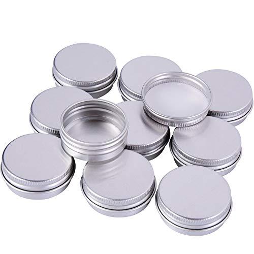 DILISEN 15ml Pots de Baume en Aluminium Vis Baume Maquillage Crèmes Rondes Contenants à Crème, 10 Pièces, Couleur Argent