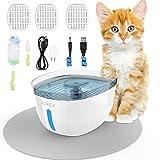 AOKEY Dispensador de Agua para Gatos y Perros, cojín de Cepillo, Tubo de succión, USB Ultra silencioso con Tres filtros…