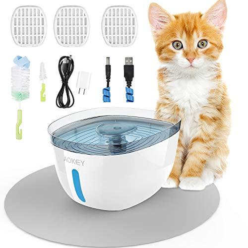 Fontanella per Gatti, 2.2L Fontana per Animali Domestici con 3 Filtri di Ricambio e Pad Impermeabile, con Finestra del Livello dell'acqua per Visione Notturna a LED. Super Silenzioso e Igienico.