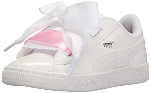 PUMA Girls' Basket Heart Patent Sneaker, White, 3.5 M US Big Kid