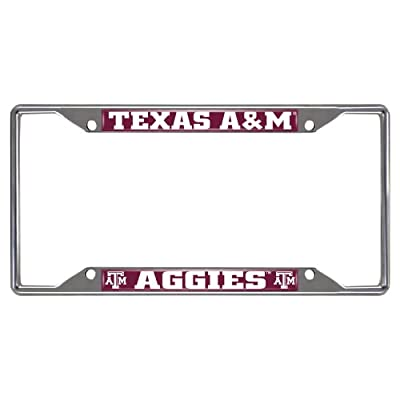"FANMATS 14895 NCAA Texas A&M University Aggies Chrome License Plate Frame,6.25""x12.25"""