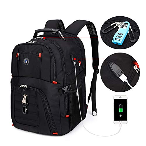 SOLDIERKNIFE Extra Large Durable 50L Travel Laptop Backpack School Backpack Travel Backpack College Bookbag with USB Charging Port fit 17 Inch Laptops for Men Women Including Lock Black