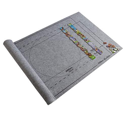 Mizily Professionelle Puzzlematte,Puzzle Roll,Unterlage für Puzzle,Tragbare Puzzle-Bodenmatte,Puzzleunterlage Filzmatte,Jigsaw Puzzle 1500 Teile,Große Filz Puzzle-Matte (Grau)