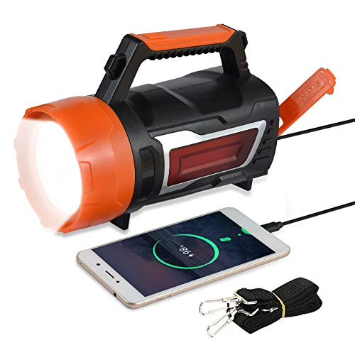 LED Hand Crank Flashlight,3 In 1 Rechargeable Powerful Cranklight, 3600 Lumens Waterproof Portable Side Floodlight for for Outdoor Camping Hiking- Belt and USB Cable Supplied
