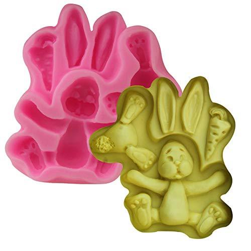 sina dibujos animados conejo zanahoria zanahoria silicona forma de dibujos animados conejo zanahorias tartas forma de dibujos animados conejo zanahoria molde 2 unidades