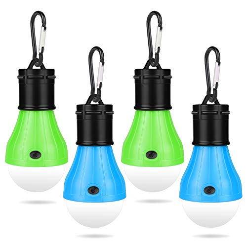 Linterna de Camping, Lámpara LED para acampar con mosquetón,3 Led Portátil Lámpara de Tienda,Resistente al Agua,3 Modos de iluminación,para Camping Aventuras,4pcs