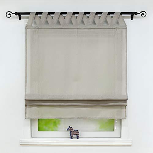 Joyswahl Raffrollo Halbtransparentes Unifarbiges Bändchenrollo »Mila« Schals mit Schlaufen Fenster Vorhänge BxH 120x140cm Grau 1er Pack