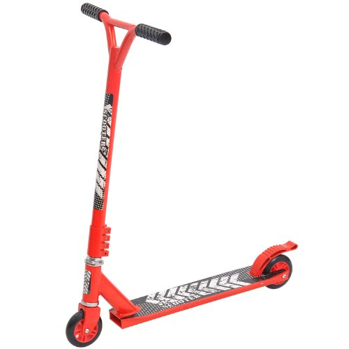 HOMCOM Trottinette patinette Freestyle Adulte - 2 Roues PU - Repose-Pied antidérapant - Frein Friction AR - alu. Rouge