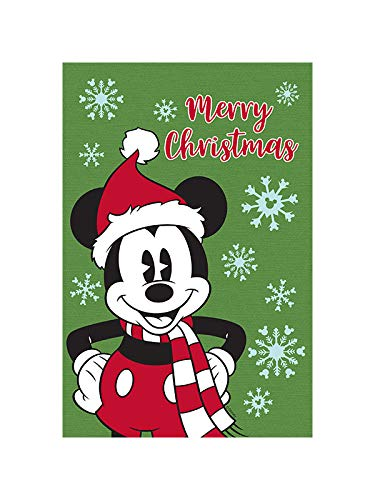 """Flagology.com, Disney, Mickey Mouse, Merry Christmas Mickey – Garden Flag – 12.5"""" x 18"""", Christmas, Outdoor/Indoor, Exclusive Premium Fabric, Printed on Both Sides, Winter, Officially Licensed Disney"""