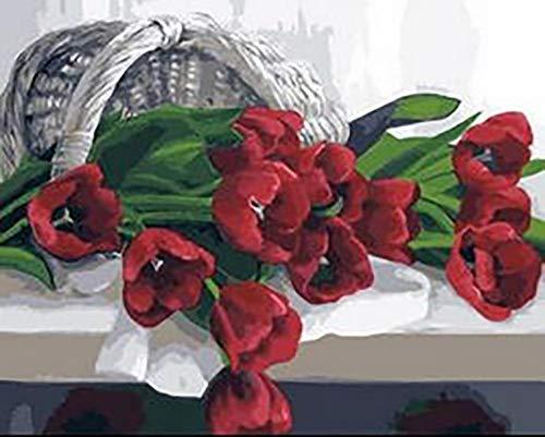 DQSJYH Kit para Kidspaint por números Kit de flores rojas con pinceles y pinturas acrílicas regalos de cumpleaños para adultos niños principiantes pintura sobre lienzo de 40 x 50 cm (sin marco)