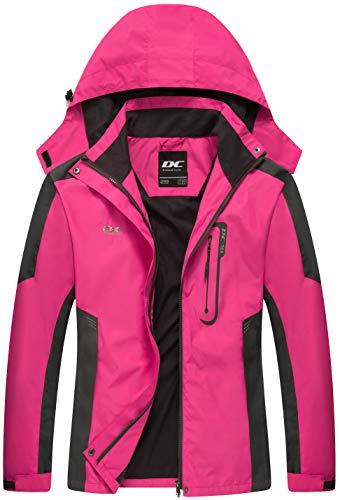 Diamond Candy Waterproof Rain Jacket Women Lightweight Outdoor Raincoat Hooded for Hiking Hot Pink XL