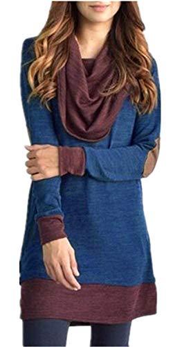 Blusas Mujer Elegante Primavera Largo Moda Blusa Otoño Manga Mode De Marca Larga Collar De Chal Minifalda Top Splice Puños Elásticos Moda Joven Camisas (Color : Azul, Size : L)