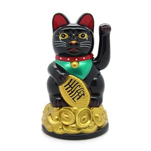 Starlet24 winkende Glückskatze Winkekatze Lucky Cat Maneki-Neko Katze Glücksbringer (Schwarz, 11cm)