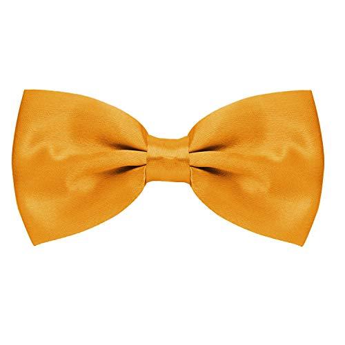MASADA Herren Fliege Gelb glänzend und stufenlos verstellbar, handgefertigt mit Hakenverschluss - 12 x 6 cm 100% Polyester