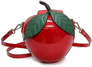 123Arts Fashion Apple Shape PU Leather Handbag Cartoon Shoulder Bags Purse - Red / Green, 191910cm