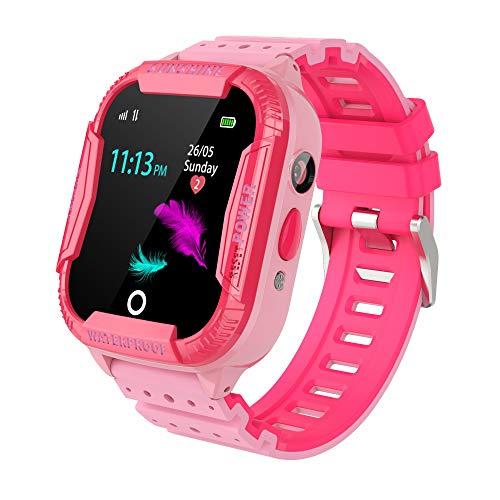 Kinder GPS WiFi Intelligente Uhr Wasserdicht, Smartwatch mit Kinder SOS Handy Touchscreen Spiel Kamera Voice Chat Wecker für Jungen Mädchen Student Geschenk PINK