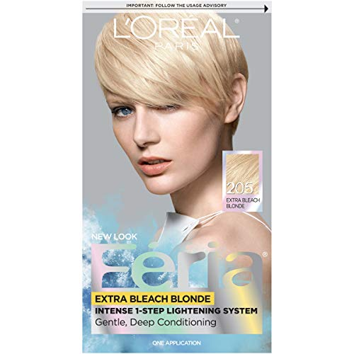 L'Oreal Paris Feria Multi-Faceted Shimmering Permanent Hair Color, 205 Bleach Blonding (Extra Bleach Blonde), Pack of 1, Hair Dye