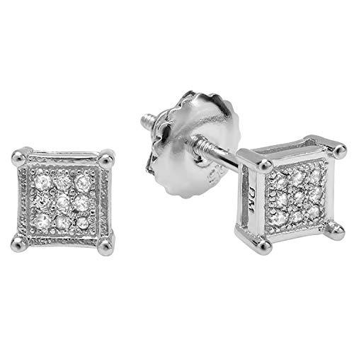 Pendientes de plata de ley chapados en platino de 0,05 quilates con diamante redondo para hombre