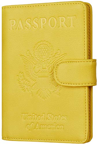 Toughergun Leather Passport Holder Wallet Cover Case RFID Blocking Travel Wallet (nappa sunshine yellow buckled)