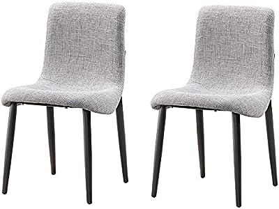 Groove 2X Samara Modern Fabric Upholstered Seat Steel Legs Dining Chairs - Grey & Black