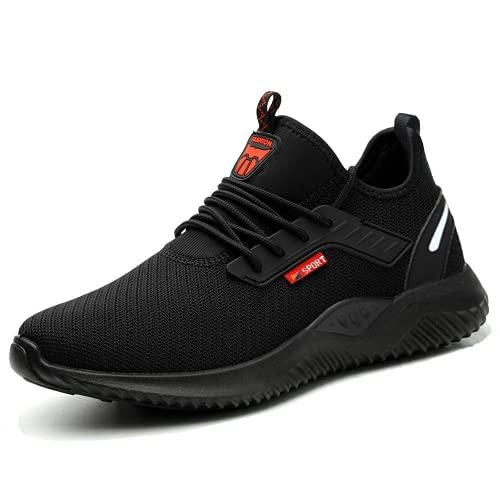 HMFSXKR Zapatos de seguridad para hombre y mujer, ligeros, industriales, con puntera de acero, antideslizantes, transpirables, antiperforación, color Negro, talla 46 EU