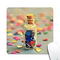 カスタマイズされたレトロな愛の願いボトル布表面天然ゴムゲームオフィスマウスパッド-正方形のマウスパッド(8x8x0.12インチ)