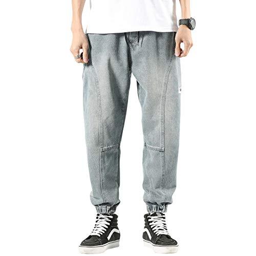 Jubaton Pantalones elásticos con cordón de Cintura elástica para Hombre, Pantalones Casuales Desgastados con Costura con Estampado de Letras Personalizadas L