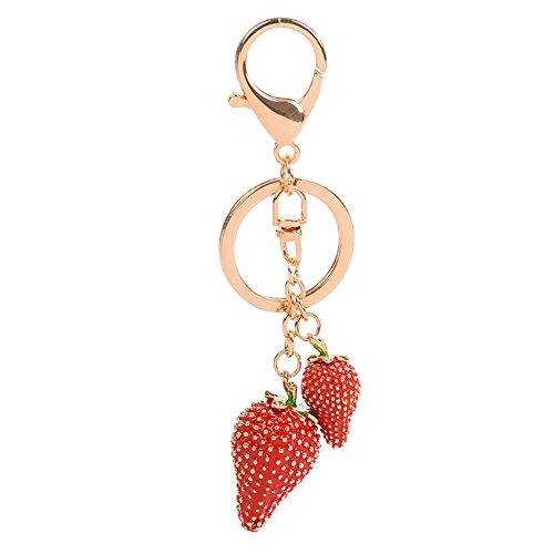 Carry stone Rote Erdbeere schlüsselanhänger kristall Strass schlüsselanhänger geldbörse Handtasche anhänger für Frauen mädchen langlebig und praktisch