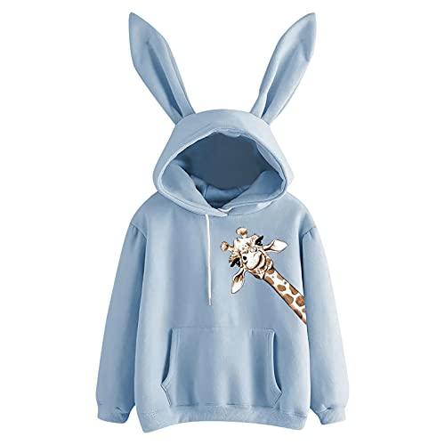 Briskorry Sudadera con capucha para mujer, diseño de orejas de conejo, manga larga, diseño de jirafa, animal, con estampado de conejo, tamaño grande, blusa, azul, XXL